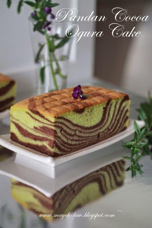 厨苑食谱: 双色花纹相思蛋糕 (Pandan Cocoa Ogura Cake)。 三色相思蛋糕(Three Colours Ogura Cake)