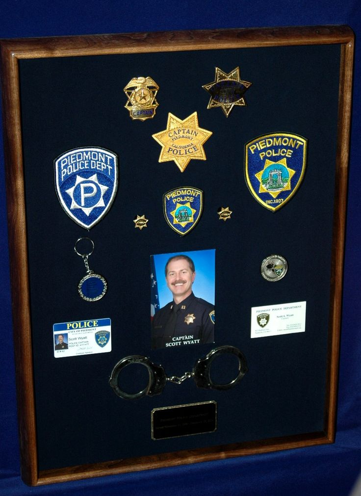 After his retirement this LEO had mementos from his career mounted into a made-to-order shadow box with a walnut frame. Made by ShadowBoxUSA.com.
