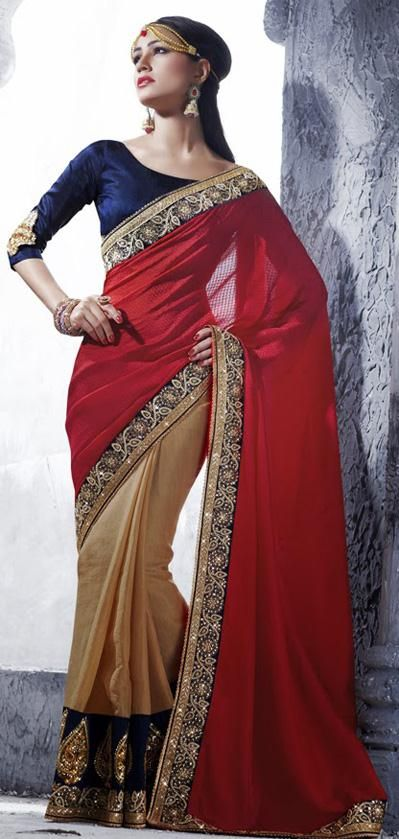 $113.5 Red and Brown Silk Embroidery Half Party Wear Saree 26178