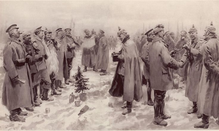 british and german soldiers arm in arm exchanging headgear a christmas truce between opposing trenches taken from from the illustrated london news of