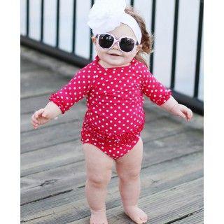 RuffleButts.com - Red Polka Dot Ruffled Rash Guard Bikini