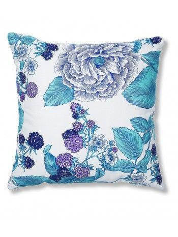 Cuscino da esterno quadrato in tessuto con fiori nella tonalità del blù con colori adatti al tuo giardino in fiore.