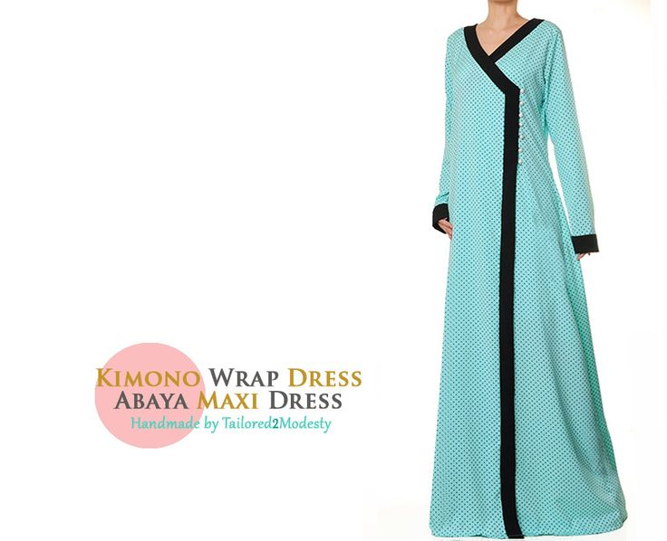Light Turqouise Kimono Wrap Maxi Dress Lightweight Summer Long Sleeved Abaya - Free Size S/M 4923 FREE SHIPPING! by Tailored2Modesty on Etsy