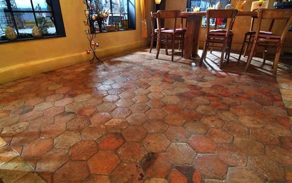 reclaimed hexagonal terracotta french tiles