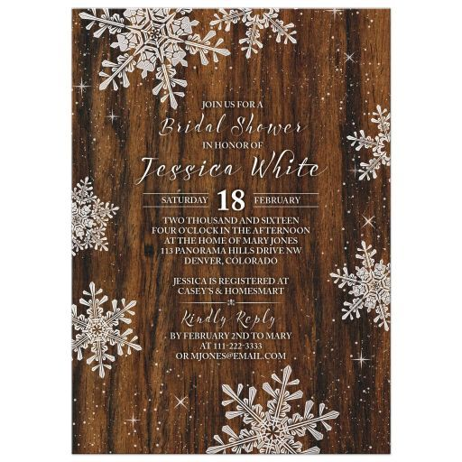 Rustic winter snowflake and wood bridal shower invitation