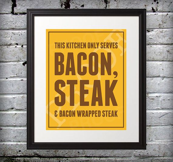 Bacon & Steak 5x7 Print by BentonParkPrints on Etsy, $8.00