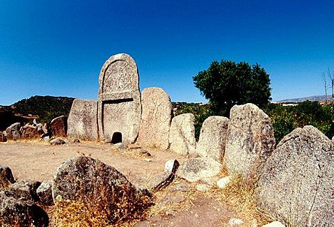 Tombs of the Giants, Nuoro province, Sardinia, Italy. These tombs are built with…