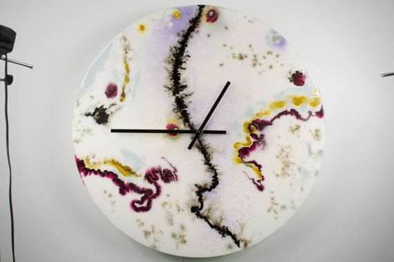 Large White Wall Clock, Glass Wall Sculpture, Collectible Glass, Modern Wall…