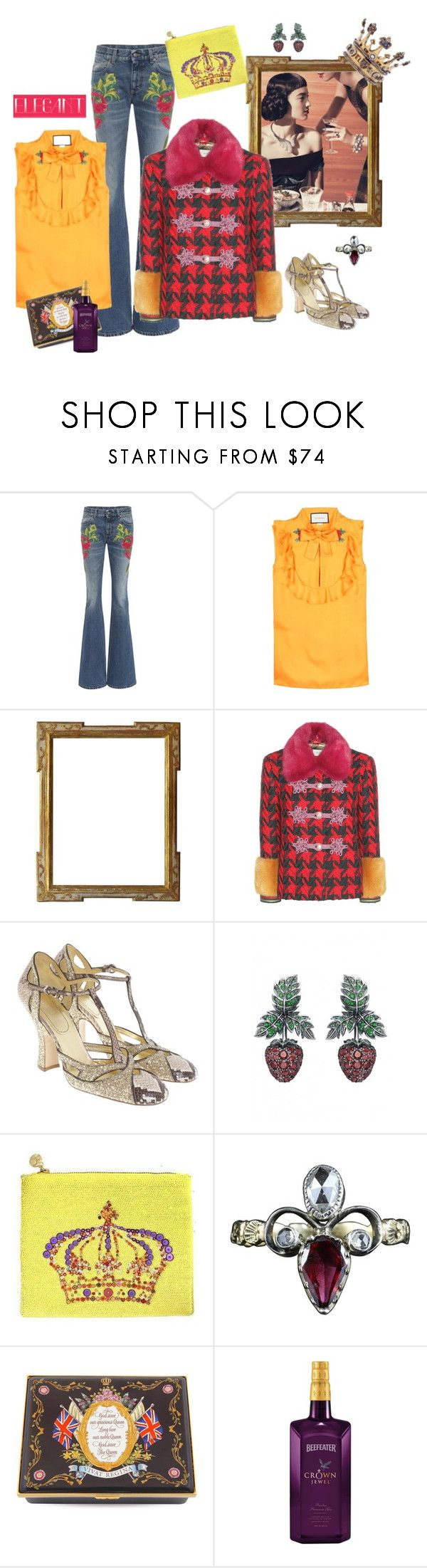 """""""Modern Monarchy"""" by juliabachmann ❤ liked on Polyvore featuring Gucci, Miu Miu, Axenoff Jewellery, Forest of Chintz, Halcyon Days and modern"""