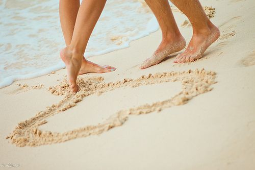 Love on the beach... cute #feet #sand #heart