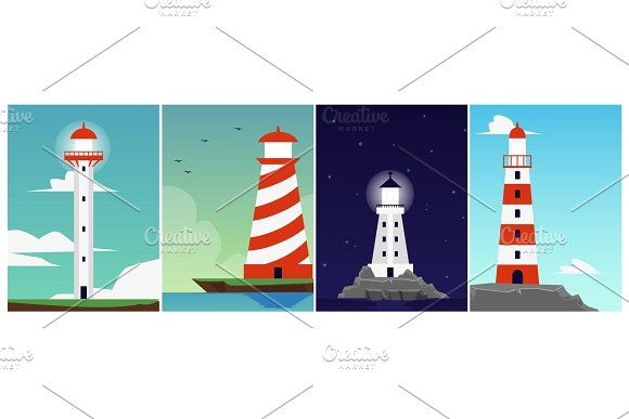 Set Of Cards Or Posters With Sea In 2020 Poster Landscape Background Cartoons Vector