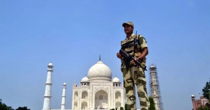 Security beefed-up at the Taj Mahal in Agra, on Oct 8, 2016. (Photo: Pawan Sharma/IANS)