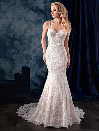 Alfred Angelo Style 974: fit and flare lace wedding dress with corset bodice, lace straps and satin waistband