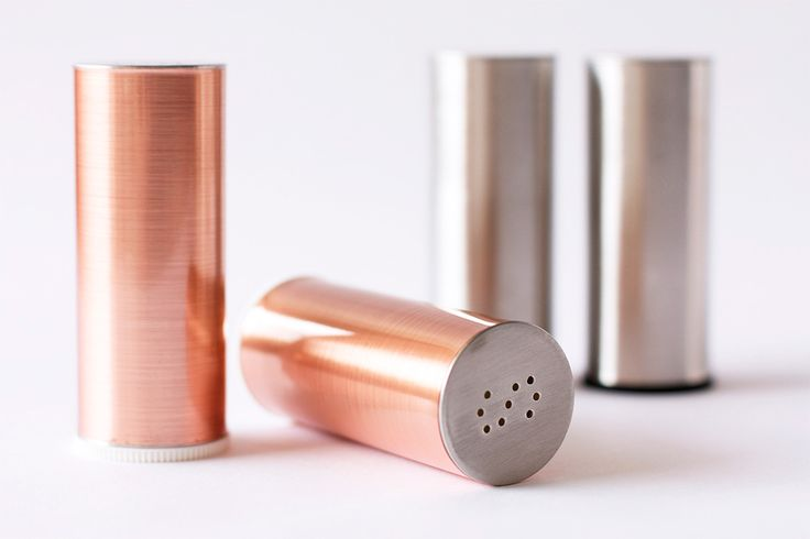 Use copper contact paper to make these metallic salt and pepper shakers.
