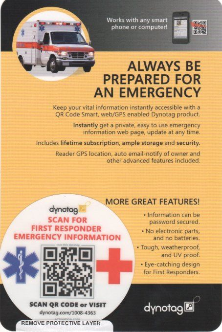 12 best diabetes management images on pinterest diabetes dynotag webgps enabled qr code smart emergency contact information windshield cling decal for fandeluxe Gallery
