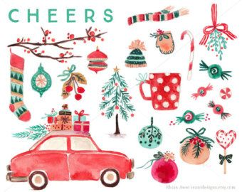 Watercolor Christmas Clip Art for personal and commercial use - Vintage Car Tree Branch Balls Decor Sock Candy Mitten Hat Scarf Lollipop