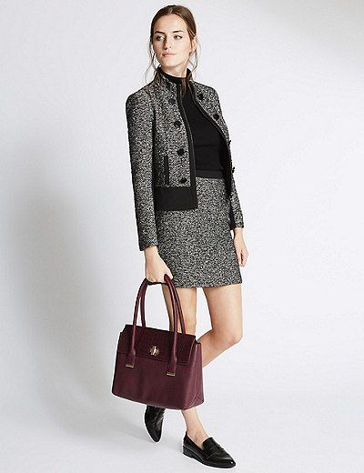 Faux Leather Twist Lock Tote Bag   Marks & Spencer London