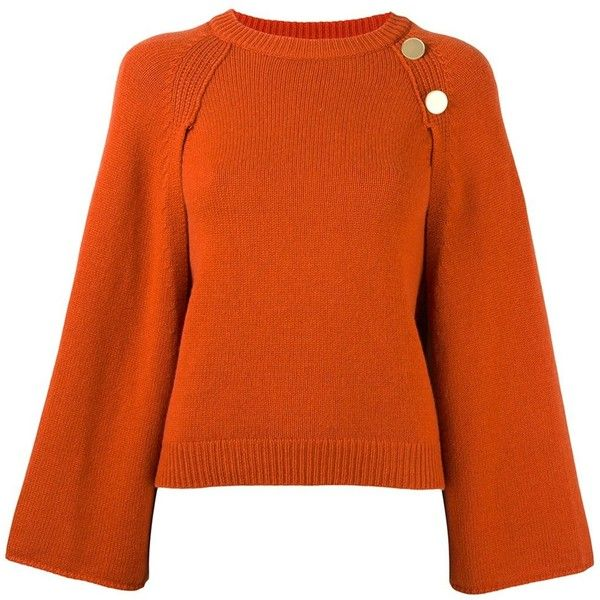 Vanessa Bruno Cape Overlay Jumper ($708) ❤ liked on Polyvore featuring tops, sweaters, orange jumper, vanessa bruno, orange top, vanessa bruno top and orange sweater