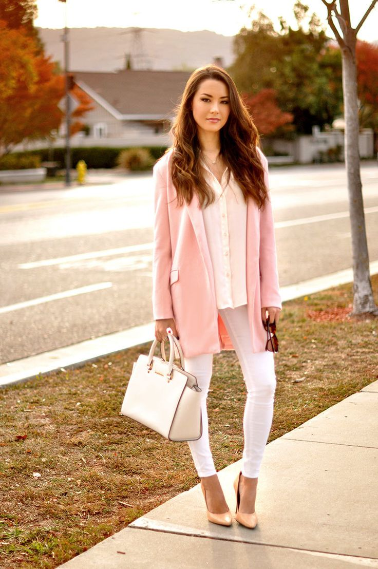 Marry a dusty pink coat with white skinny jeans for an effortless kind of elegance. Khaki leather pumps are a wonderful choice to complete the look.   Shop this look on Lookastic: https://lookastic.com/women/looks/coat-dress-shirt-skinny-jeans/14754   — White Dress Shirt  — Pink Coat  — White Skinny Jeans  — White Leather Tote Bag  — Tan Leather Pumps
