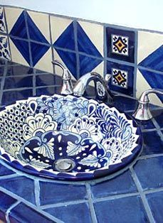 Talavera tile and Talavera sink ~ Capture the spirit of Mexico at http://www.lafuente.com/Tile/Talavera-Tile/