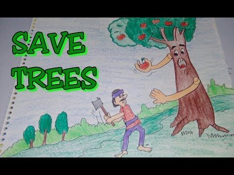 Drawing tutorial: save trees || dont cut trees || easy drawing || for kids | poster [creative ideas] - YouTube
