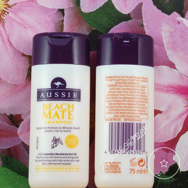 Aussie 3 Minutes MIRACLE BEACH MATE SHAMPOO For Dry Hair/Damaged/Unhappy With Australian Macadamia Nut Oil, 75ml Travel Set