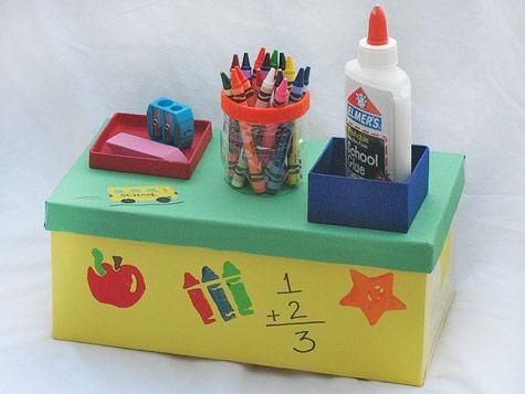 how to make a desk organiser out of a shoebox