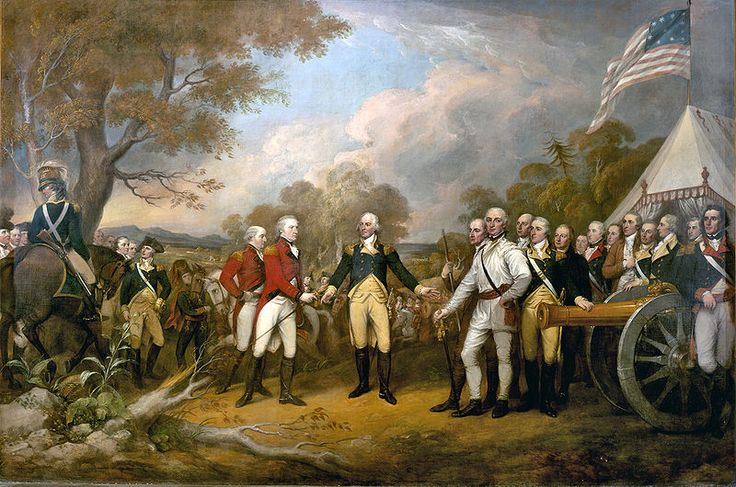 """""""Surrender of General Burgoyne"""" by John Turnbull (1822). The scene of the surrender of the British General John Burgoyne at Saratoga, on October 17, 1777, was a turning point in the American Revolutionary War that prevented the British from dividing New England from the rest of the colonies."""