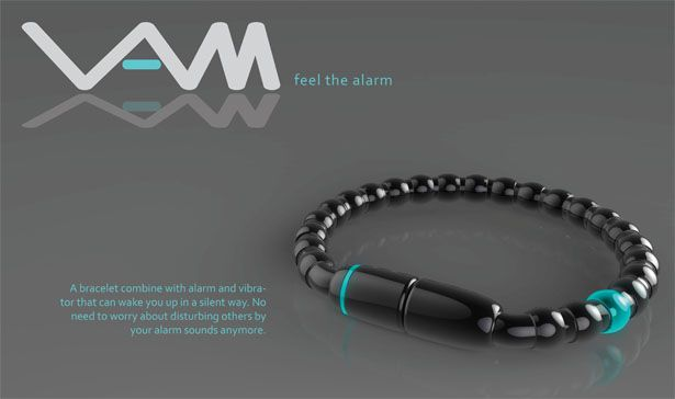 VAM Alarm Bracelet – Silent Vibrating Personal Alarm Clock - VAM, a bracelet Vibrating Alarm System has been specially designed for those who want to wake up without disturbing others. Designer: Yi-Hong Chou | via tuvie.com