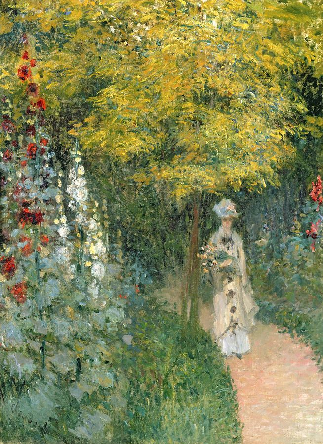 Rose Garden Painting  - Claude Monet