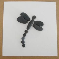 Beach Grass — Dragonfly Pebble Art Collage