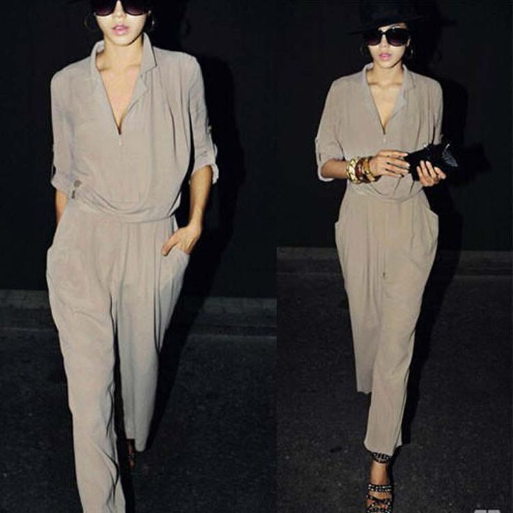 2016 Elegant Elegant Womens High Waist Long Sleeve Chiffon black Jumpsuits now only $22,70