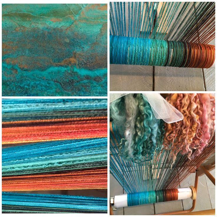 Copper Patina inspired warp by Judy Sysak at Tin Roof Fibre Studio