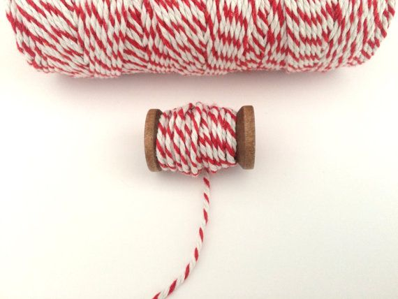 RED and WHITE 12ply bakers twine cute by Dotscutesupplies on Etsy