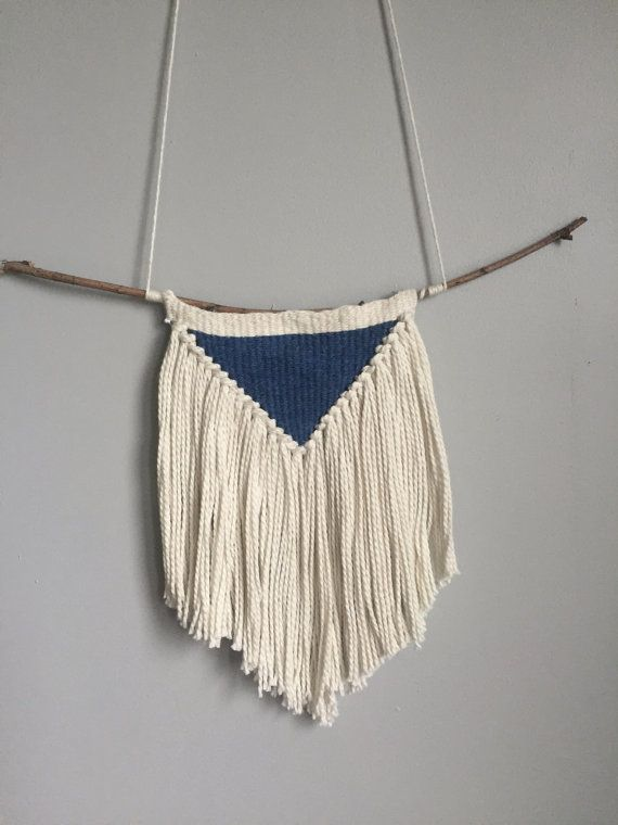 Rustic Triangle Weaving // Blue & Cream by TheLittleWovenShop