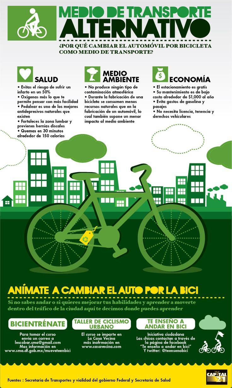 Atrévete a usar la bicicleta como medio de transporte y conoce los beneficios de cambiar el automóvil por la bicicleta.