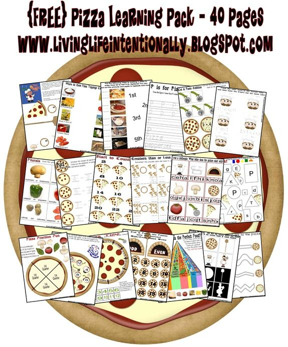 Get this Free Pizza Themed Printable Learning Pack at Living Life Intentionally. These 40 pages of free printables include a wide assortment of acti