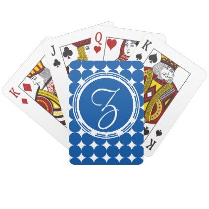 Blue Polka Dot Monogram Playing Cards - initial gift idea style unique special diy