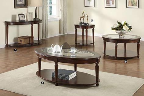Granvia Dark Cherry Wood Finish Round End Table With Beveled Table