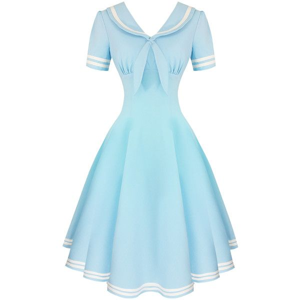 Hell Bunny Ambleside 1950s Dress Dresses ($62) ❤ liked on Polyvore featuring dresses, gothic prom dresses, gothic lolita dress, vintage cocktail dresses, blue dress and hell bunny
