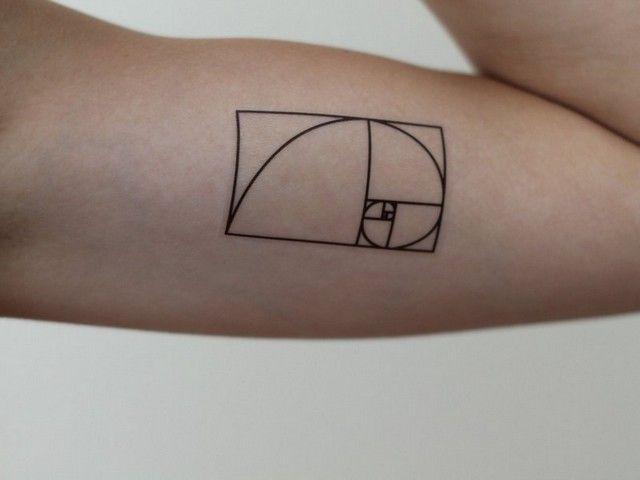 Small Fibonacci Spiral Tattoo On Biceps