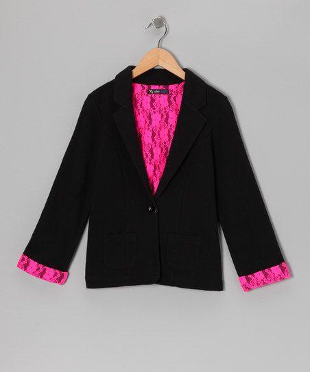 Black & Pink Lace Boyfriend Blazer - Girls