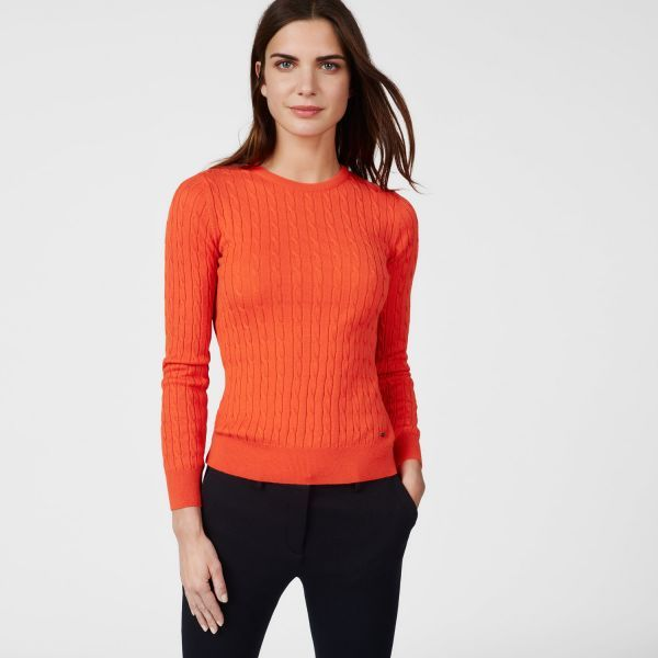 GANT - Sporty Cable Crew Sweater Fiesta Orange for women | Offisiell nettside  Pris 1'500,-