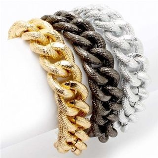 Chunky Multistrand Gold, Black, and Silver Chain Link BraceletMultistrand Gold, Chains Bracelets, Chains Link Bracelets, Chunky Multistrand, Chunky Chains, Kenas Chunky, Beautiful Chains, Silver Chains Link, Jewelry Boxes