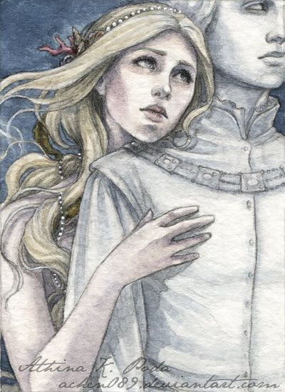 """In those days she had looked upon the Lord of the Noldor, dark-haired and white-browed, eager of face and thoughtful-eyed, and he seemed to her fairest and noblest among the Eldar, and his voice and mastery of words delighted her."" — Page 238, The Later Quenta Silmarillion (II), Morgoth's Ring, The History of Middle-Earth Volume 1; Indis dreaming about Finwe"