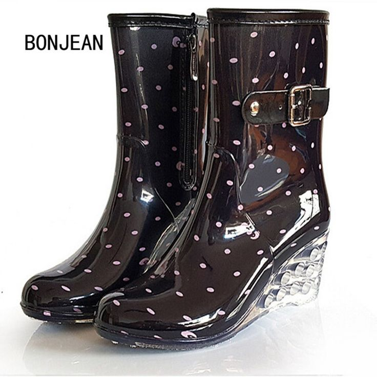 32.99$  Watch here - Free Shipping Women Wedges Fashion Rain Boots Female Short High-Heeled Boots Rain Shoes Rubber Shoes For Woman 14 Style Big Size  #magazine