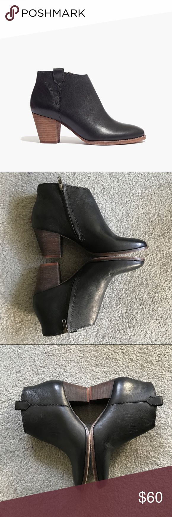 Madewell black booties Adorable and classic. I tried to use a sharpie on the heel to darken the brown but did a bit of removal before posting. It's exactly as they appear in the images! I've reduced the pricing for that reason. The leather and interiors are in great condition. Madewell Shoes Heeled Boots