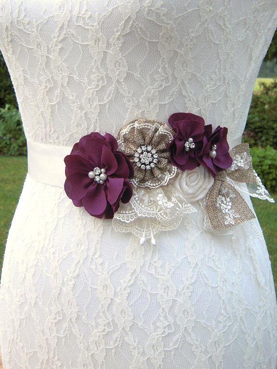 Sangria Plum Wedding Dress Sash Belt Country Wedding Purple Wine