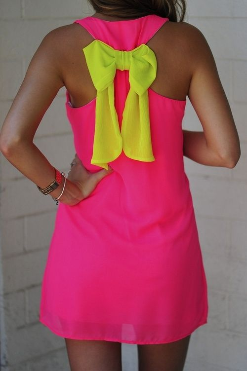 Back neon dress .. The bow on the back. Adore.. i would use as  swimsuit cover up. and a matching one for braigh <3
