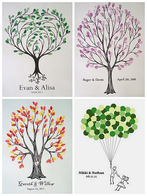 Guestbook tree. For baby shower, everyone leaves a thumbprint as a leaf.